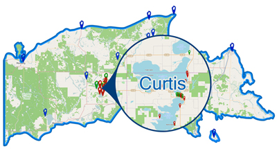 Curtis, MI Maps, ATV Map, Lake Maps, Interactive Maps on county map of upper michigan, map of upper peninsula michigan, map upper peninsula mich, map of upper mi,