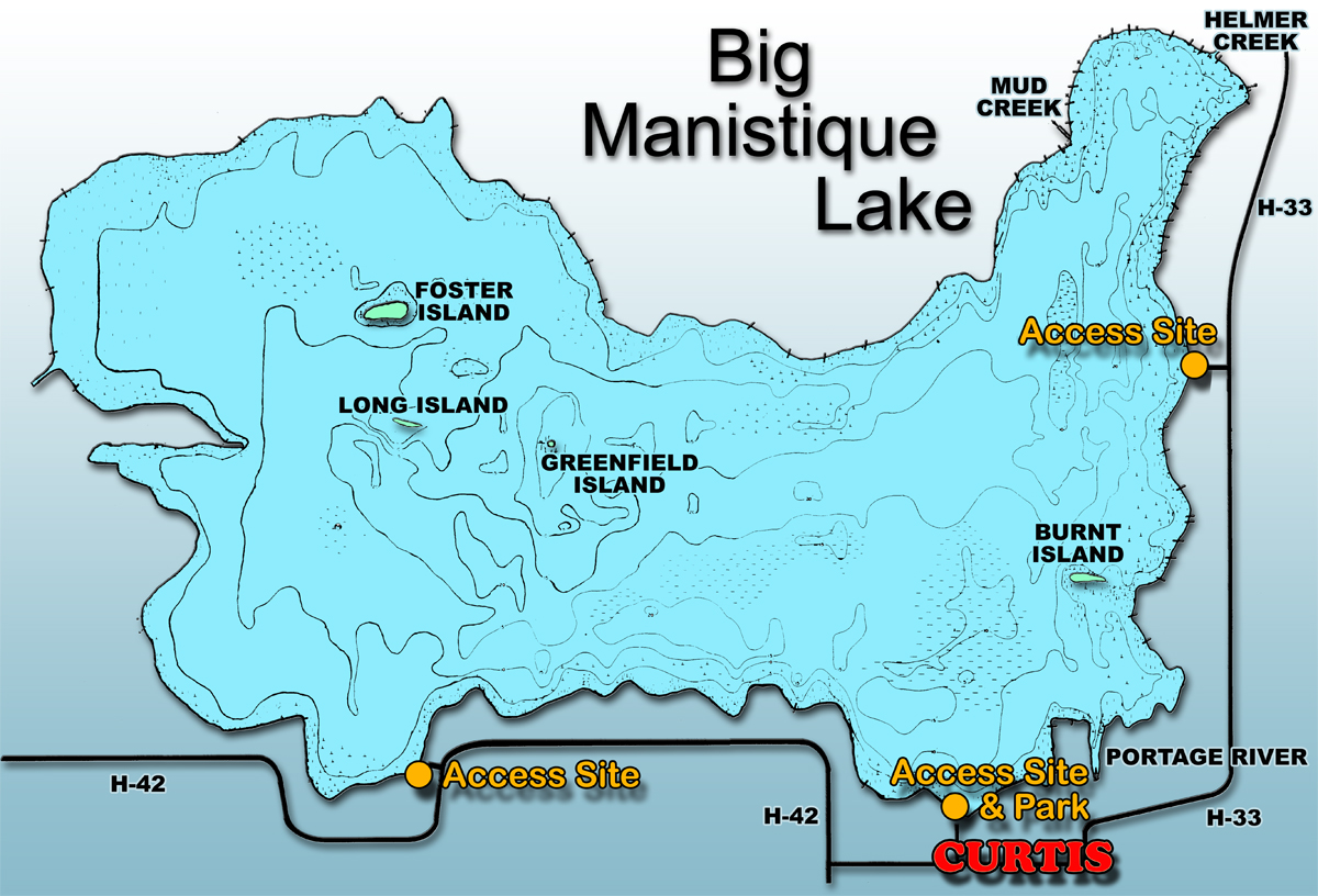 Michigan Map With Cities And Lakes.Big Manistique Lake